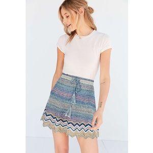 UO Ecote Sweater Knit Chevron Mini Skirt 8R